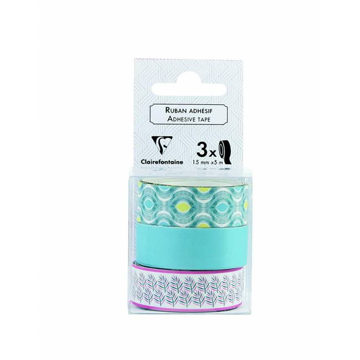 Washi tapes CLAIRE FONTAINE tropics πακ/3τεμ 15mmx5m